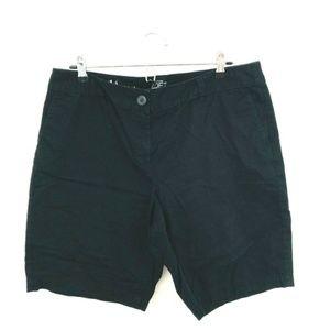 LOFT Solid Black Cotton Chino Shorts 14